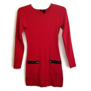 New Directions Red Sweater Knit Tunic Top